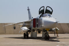 Military fighter jet. Service before flight Stock Images