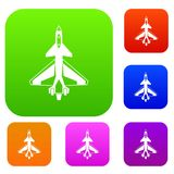 Military fighter jet set collection. Military fighter jet set icon in different colors isolated vector illustration. Premium collection Stock Images