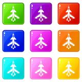 Military fighter jet set 9. Military fighter jet icons of 9 color set isolated vector illustration Stock Images