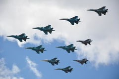 Military fighter jets in the air Royalty Free Stock Image