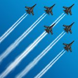 Military fighter jets with condensation trails in sky vector illustration. Air, plane, military, show, flight, trail, sky, performance, Airplane army, fighter Royalty Free Stock Image