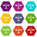 Military fighter plane icon set color hexahedron. Military fighter plane icon set many color hexahedron isolated on white vector illustration Stock Photo