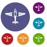 Military fighter plane icons set. In flat circle reb, blue and green color for web Royalty Free Stock Image