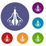 Military fighter plane icons set. In flat circle reb, blue and green color for web Stock Photo