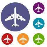 Military fighter plane icons set. In flat circle reb, blue and green color for web Royalty Free Stock Photo
