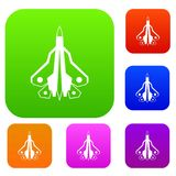 Military fighter plane set collection. Military fighter plane set icon in different colors isolated vector illustration. Premium collection Stock Photo
