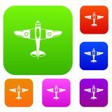 Military fighter plane set collection. Military fighter plane set icon in different colors isolated vector illustration. Premium collection Stock Image