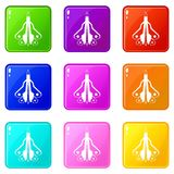 Military fighter plane set 9 Royalty Free Stock Images