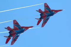 Military fighters mig-29. On blue sky Royalty Free Stock Images