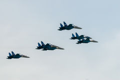 Military fighters SU-27 at demonstrative flight Royalty Free Stock Image