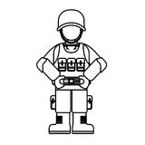 Military figure with its different protection tools Royalty Free Stock Photos