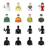 Military, fireman, artist, policeman.Profession set collection icons in black,cartoon style vector symbol stock. Illustration Stock Photo