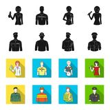 Military, fireman, artist, policeman.Profession set collection icons in black,flet style vector symbol stock. Illustration Stock Photos