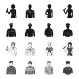 Military, fireman, artist, policeman.Profession set collection icons in black,monochrome style vector symbol stock. Illustration Stock Photography