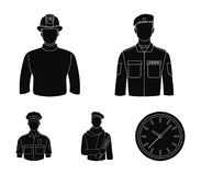 Military, fireman, artist, policeman.Profession set collection icons in black style vector symbol stock illustration web. Military, fireman, artist, policeman Stock Photos
