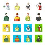 Military, fireman, artist, policeman.Profession set collection icons in cartoon,flat style vector symbol stock. Illustration Stock Photography