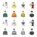 Military, fireman, artist, policeman.Profession set collection icons in cartoon,monochrome style vector symbol stock. Illustration Royalty Free Stock Photo
