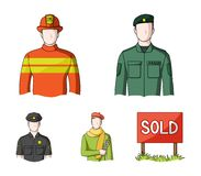 Military, fireman, artist, policeman.Profession set collection icons in cartoon style vector symbol stock illustration.  Royalty Free Stock Photos
