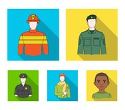 Military, fireman, artist, policeman.Profession set collection icons in flat style vector symbol stock illustration web. Military, fireman, artist, policeman Royalty Free Stock Photos
