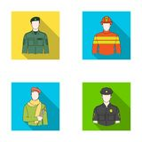 Military, fireman, artist, policeman.Profession set collection icons in flat style vector symbol stock illustration web. Royalty Free Stock Images