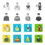 Military, fireman, artist, policeman.Profession set collection icons in monochrome,flat style vector symbol stock. Illustration Stock Photo