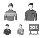 Military, fireman, artist, policeman.Profession set collection icons in monochrome style vector symbol stock. Illustration Royalty Free Stock Image