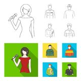 Military, fireman, artist, policeman.Profession set collection icons in outline,flat style vector symbol stock. Illustration Royalty Free Stock Photo