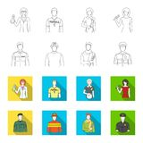 Military, fireman, artist, policeman.Profession set collection icons in outline,flet style vector symbol stock. Illustration Stock Images