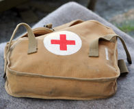 Military first aid kit. Bag containing first aid equipment on wool blanket Royalty Free Stock Image