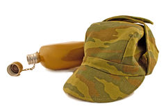 Military flask and cap Royalty Free Stock Photo