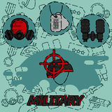 Military flat concept icons Stock Images