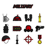 Military flat icons set Royalty Free Stock Images