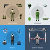 Military Flat Set Stock Photos