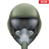 Military flight fighter pilot helmet. Vector. Military flight fighter pilot helmet of Air Force with oxygen mask. Vector illustration  on white background Stock Image
