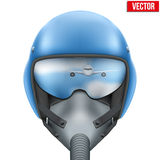Military flight fighter pilot helmet. Vector. Military flight fighter pilot blue helmet of Air Force with oxygen mask. Vector illustration isolated on white Royalty Free Stock Photography