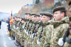 12/01/2018 - Military formations celebrating the Romanian National Day in Timisoara, Romania stock photo