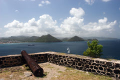 Military fort on caribbean. Old military fort on island of St. Lucia in Caribbean.  View over Rodney Bay from Pidgeon Island Royalty Free Stock Images