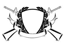 Military frame. The vector image of the framework, crossed submachine gun, wreath and banner Royalty Free Stock Photography