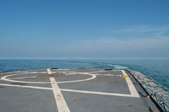 Military frigate flight deck for helicopters. Sailing at the atlantic ocean Stock Photo