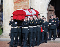 Military Funeral of a WW1 Canadian Soldier. Military Funeral of a World War One Canadian Soldier found on a Battlefield on the Somme, Northern France Stock Images