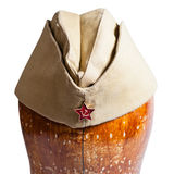 Military garrison cap with soviet red star sign Stock Image