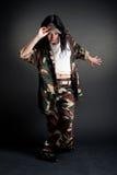 Military girl dancing Stock Image
