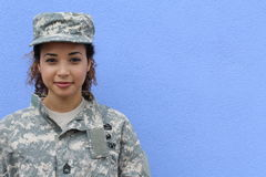 Free Military Girl On Blue Background With Copy Space Royalty Free Stock Photo - 75766935