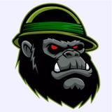 Military Gorilla Head . Vector illustration Stock Photos