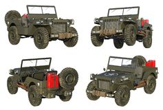Four views of highly detailed Military Vehicle from WWII vector illustration