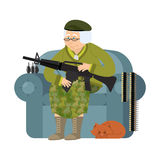 Military Grandmother with gun. Army old woman in an armchair wit. H tommy gun and cat. Soldier grandma with rifle. Protection of pensioners Royalty Free Stock Photo