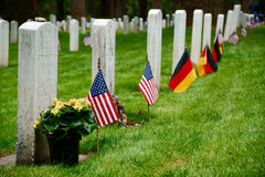 Military Grave Stones. U.S. Military Fort Luis Washington National Cemetery Grave Stones with United States Flags on Memorial Day. Four German Soldiers from WWII stock image