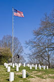 Military Graves Under American Flag Royalty Free Stock Image