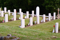 Military graves with Union Jack flags. Rows of military graves with Union Jack flags Royalty Free Stock Photos