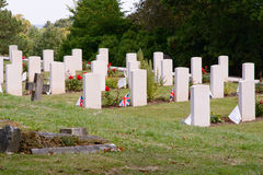 Military graves with Union Jack flags. In war cemetery Royalty Free Stock Images